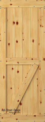 Town & Country Unassembled Barn Door Kit, KE Series, Bottom Z  in Pine*