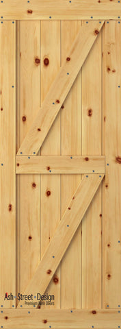 Town & Country Unassembled Barn Door Kit, KF Series, Twin-Z in Pine*