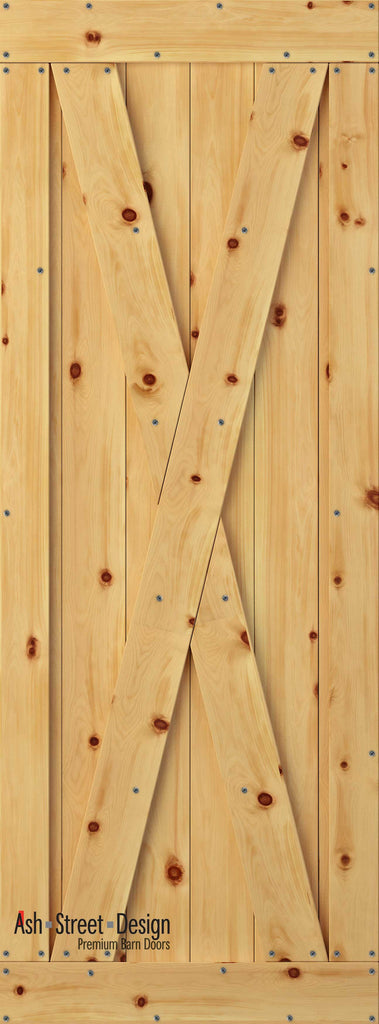 Town & Country Unassembled Barn Door Kit, KG Series, X-Style in Pine* - Ash Street Design  - 1