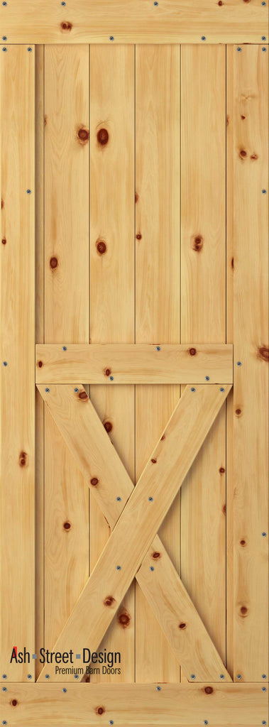 Town & Country Unassembled Barn Door Kit, KH Series, Bottom-X in Pine* - Ash Street Design  - 1
