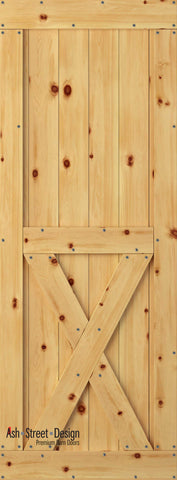 Town & Country Unassembled Barn Door Kit, KH Series, Bottom-X in Pine*