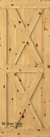 Town & Country Unassembled Barn Door Kit, KI Series, Twin-X in Pine*