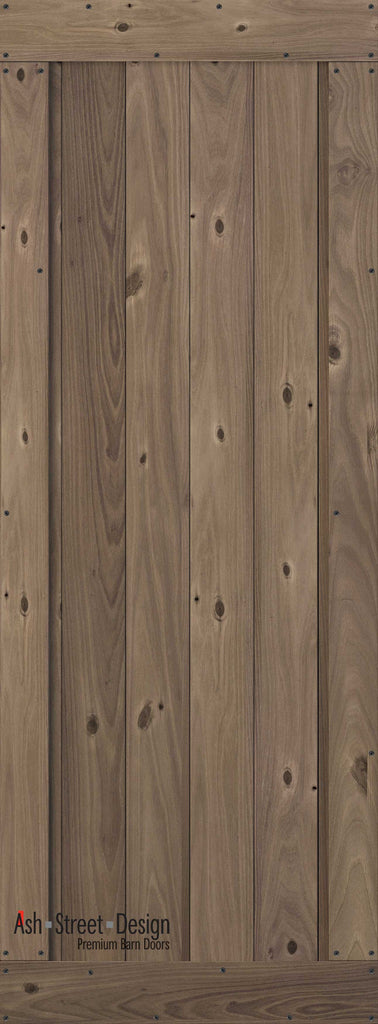 Town & Country Unassembled Barn Door Kit, KA Series,V-Plank in Walnut (Knotty) - Ash Street Design  - 1
