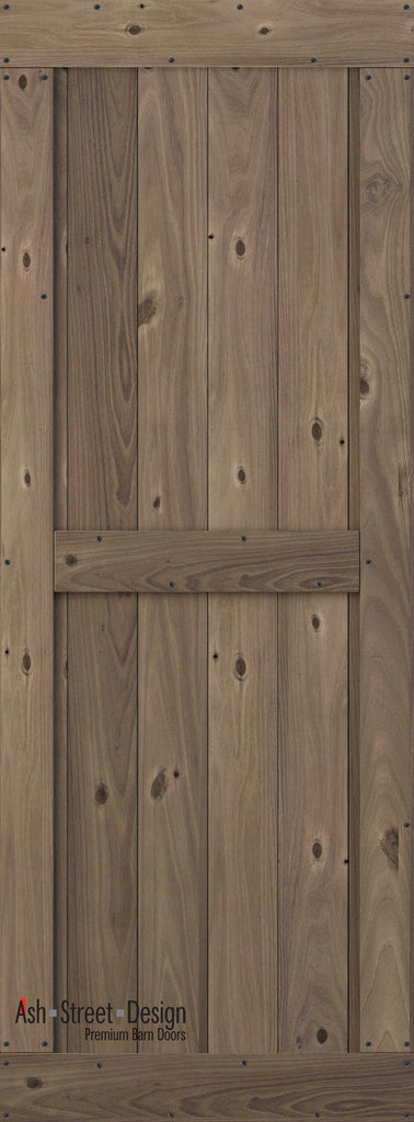 Town & Country Unassembled Barn Door Kit, KB Series, Mid-Style in Walnut*(Knotty) - Ash Street Design  - 1