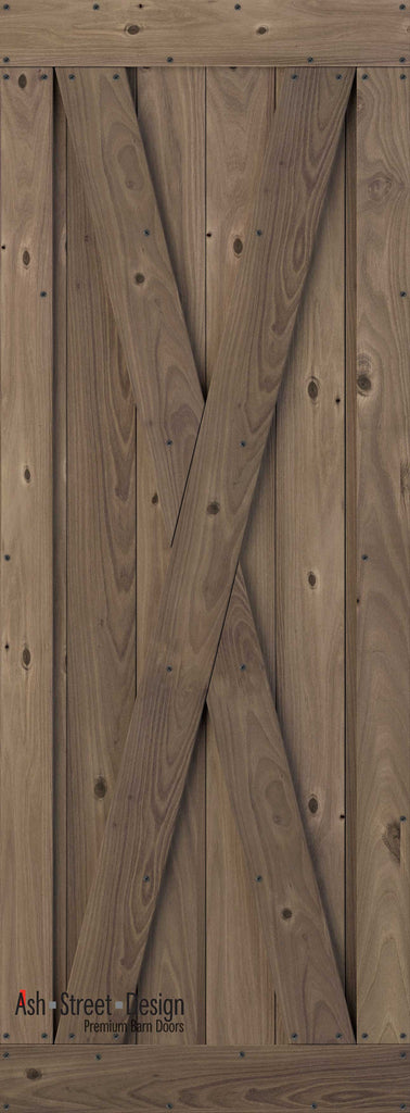 Town & Country Unassembled Barn Door Kit, KG Series, X-Style in Walnut*(Knotty) - Ash Street Design  - 1