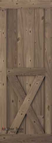 Town & Country Unassembled Barn Door Kit, KH Series, Bottom-X in Walnut (Knotty)