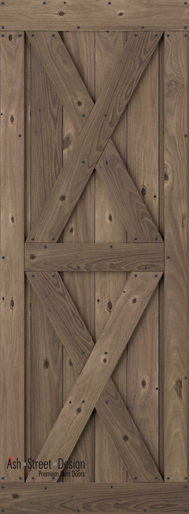 Town & Country Unassembled Barn Door Kit, KI Series, Twin-X in Walnut*(Knotty) - Ash Street Design  - 1