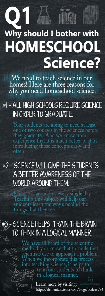 Why should I bother with homeschool science? Here are three reasons why. To get the complete picture, listen to episode 74 of the Tips for Homeschool Science Show.
