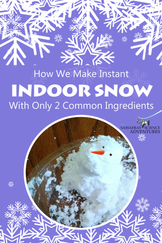 The Sassafras Twins are here to share with you or not-so-secret way to make indoor snow with only 2 ingredients.