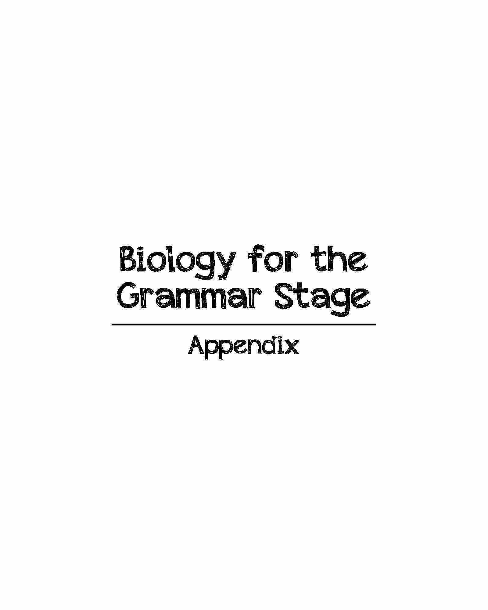 Biology For The Grammar Stage Appendix Templates
