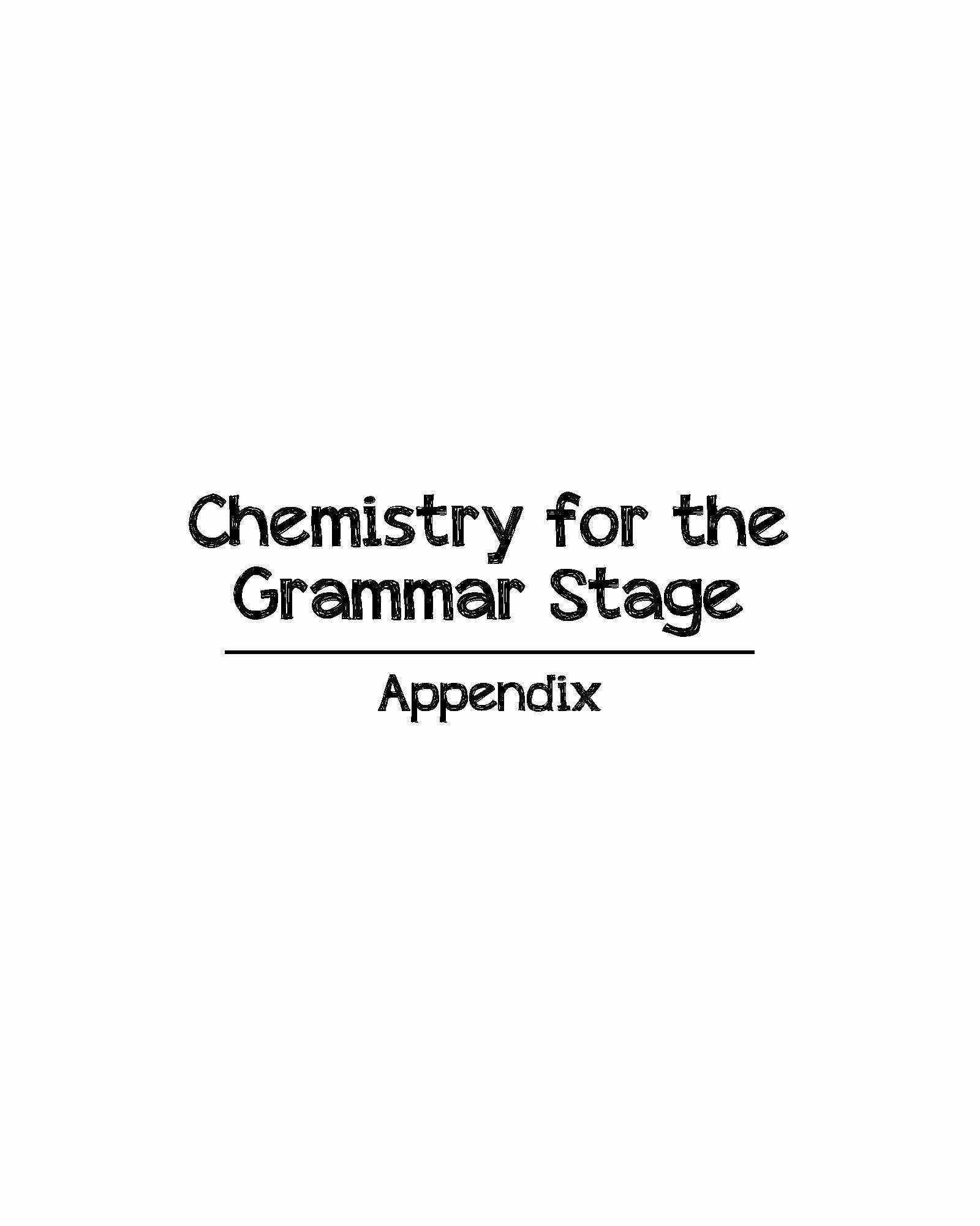 Chemistry For The Grammar Stage Appendix Templates