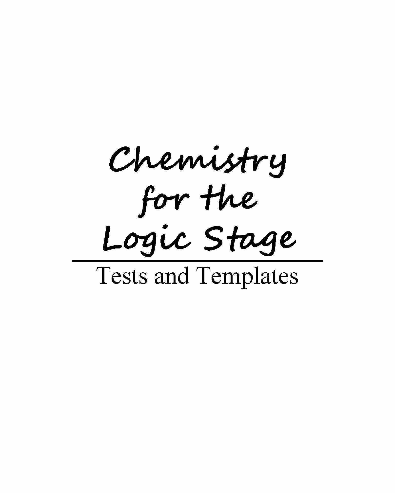 Chemistry For The Logic Stage Tests And Templates