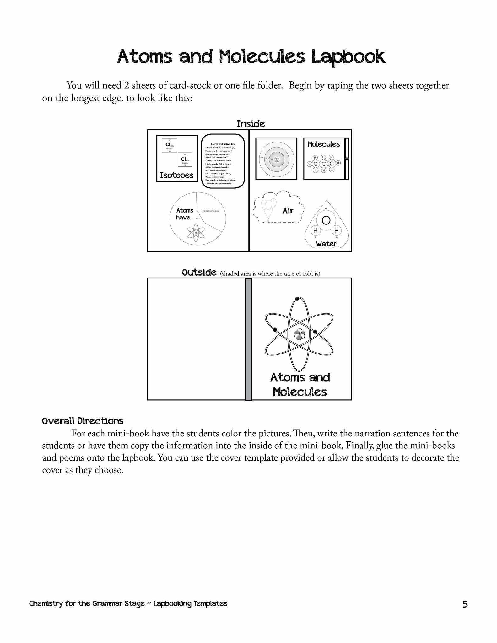 Book Cover Template For Students ~ Chemistry lapbooking templates ebook