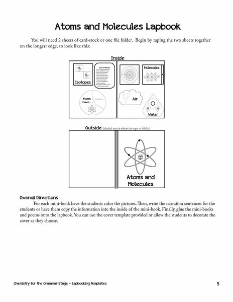 Student Book Cover Template ~ Chemistry lapbooking templates ebook