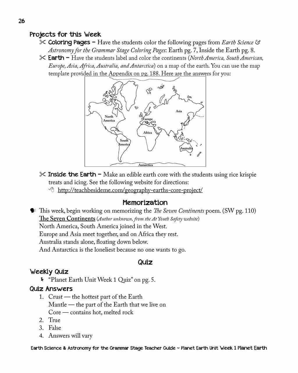 earth science u0026 astronomy for the grammar stage teacher guide