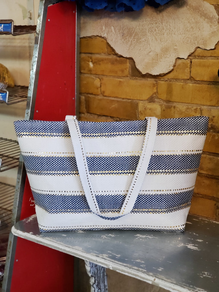 Navy and White Tote