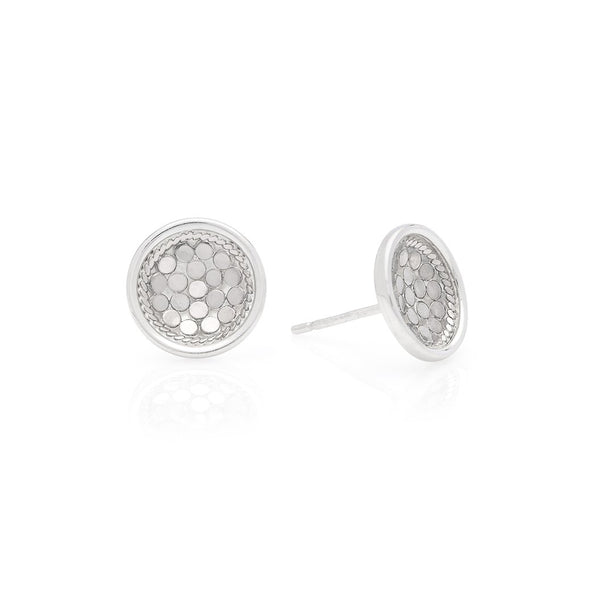 Dish stud earrings - silver