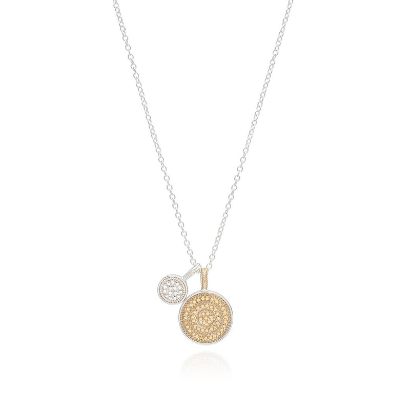 Double disc charm necklace
