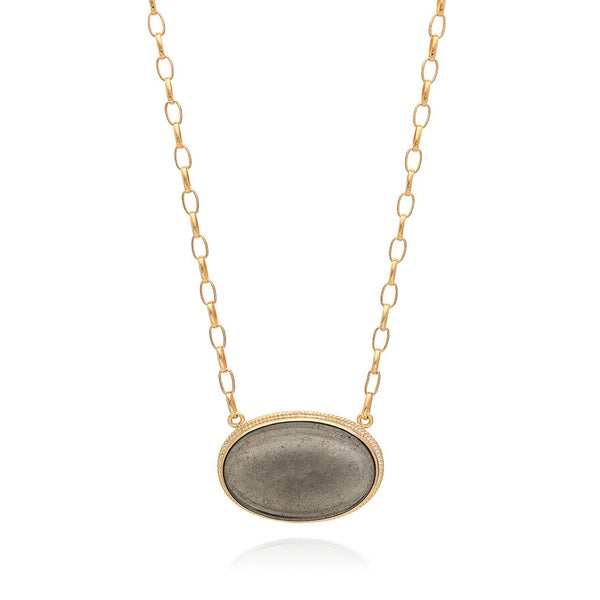 Smooth Pyrite Pendant Necklace 16-18""