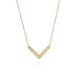 Medium Gold V Necklace