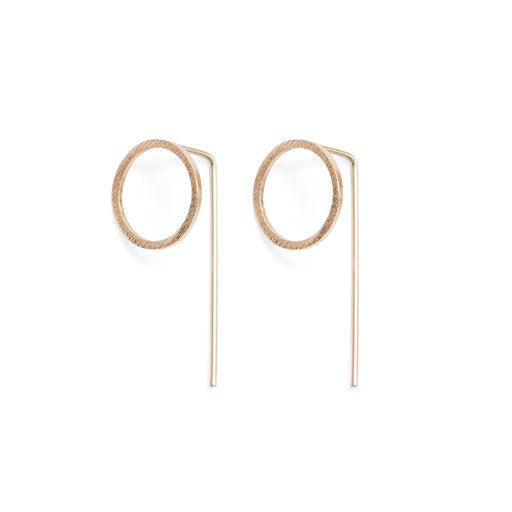 Circle Drop Back Earrings - Gold
