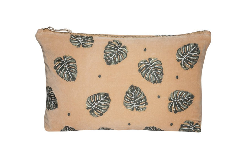 Jungle Leaf Copper Velvet Pouch