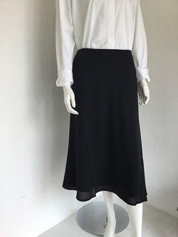 Satin Black Midi Skirt