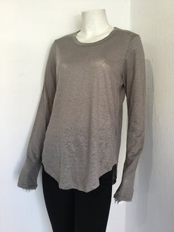 Noah Linen Long Sleeve T-shirt - Grey