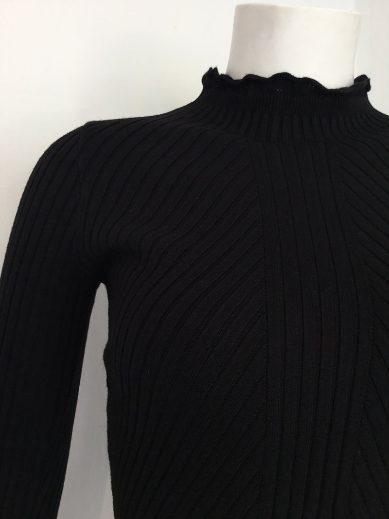 Vologne Knit High Neck Top - BLACK