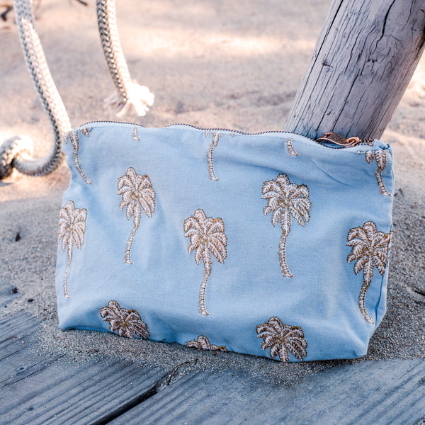 Palmier Chambray Pouch
