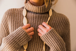 Ribbed tall neck pullover