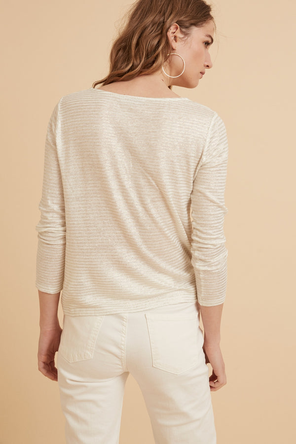 Linen Stripes T Shirt - off white & gold