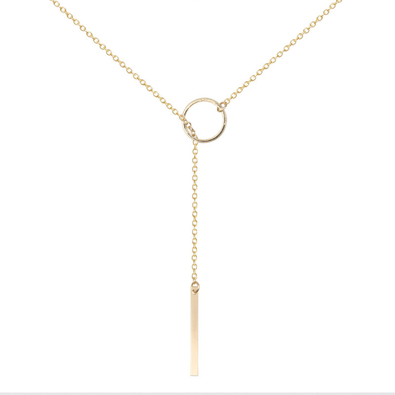 Lariat Necklace Long - Gold