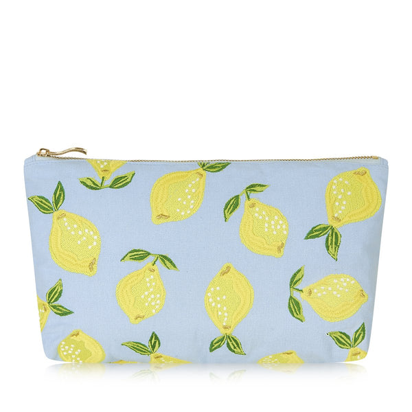 Lemon Chambray Pouch