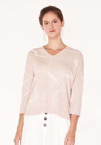 V-Neck Top with Marble Print and Dip Hem - blush and cream