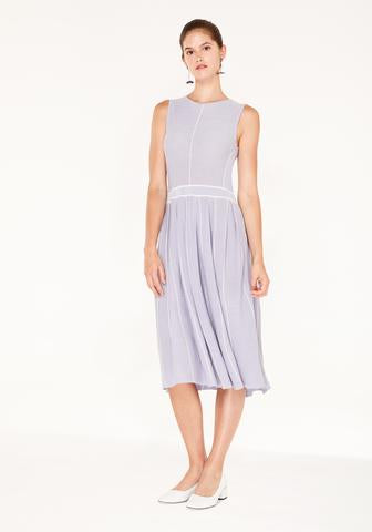 Knitted Dress with Stripe Details and Pleated Skirt - lilac and white