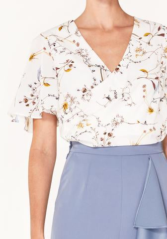 Floral Wrap Top with Flared Sleeves - white floral
