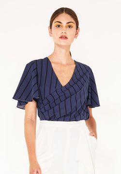 Striped wrap top with flared sleeves