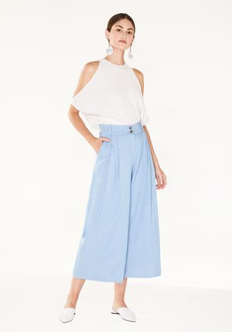 Denim Trousers with Wide Leg and Belt - denim light blue