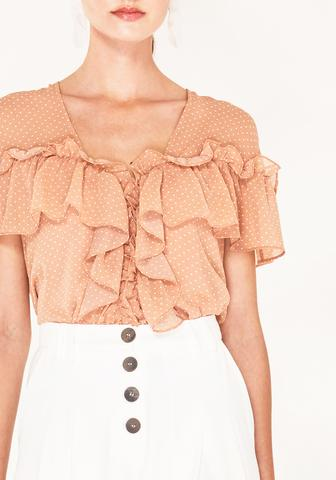 V-Neck Polka Dot Blouse with Ruffles - coral and white