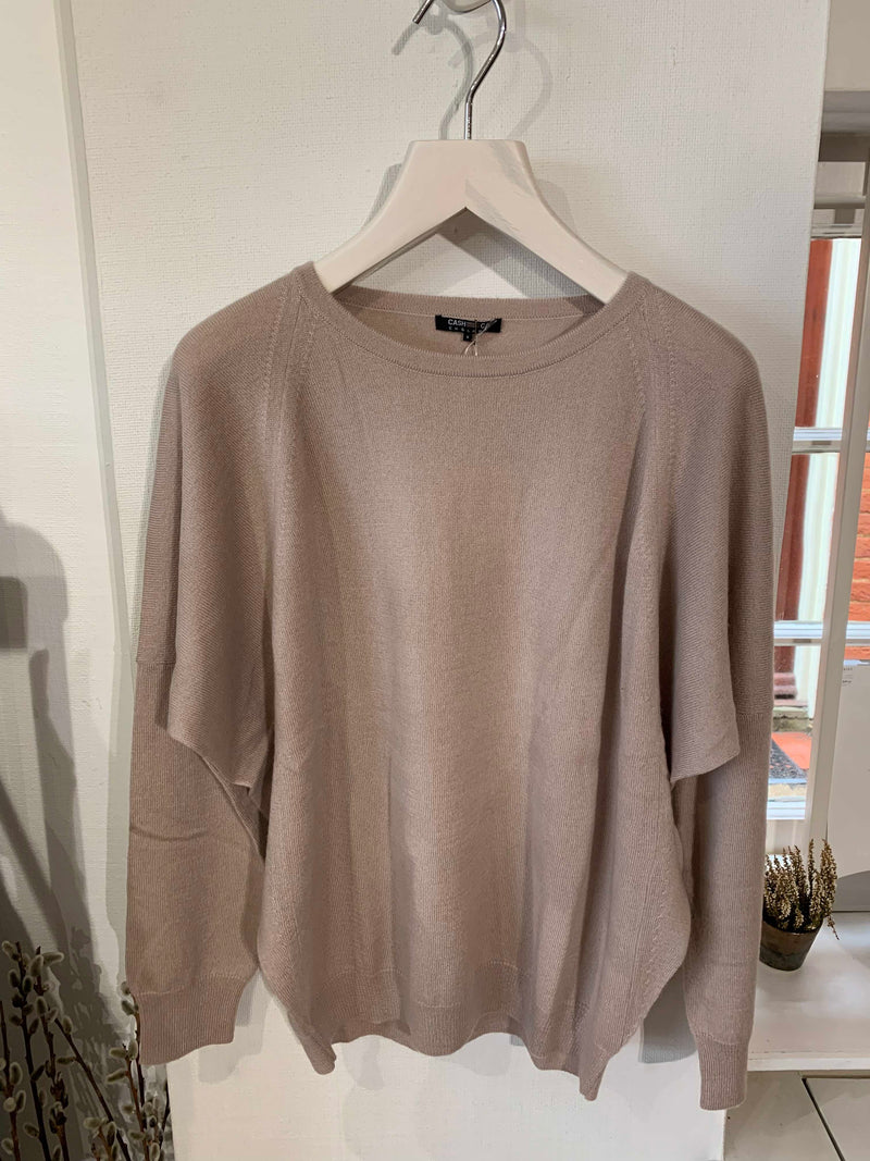 Pannelled Easy Crew Neck Jumper - Barley Sugar