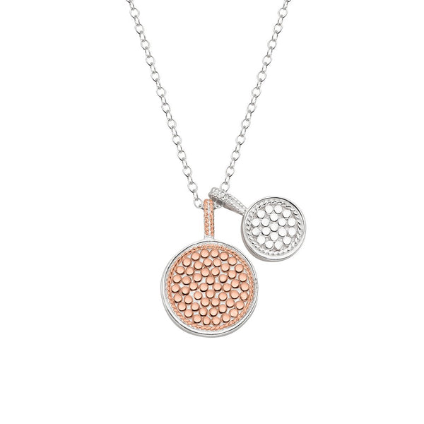 Double sided rose gold and silver necklace