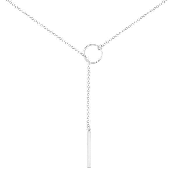 Lariat Necklace Long - Silver