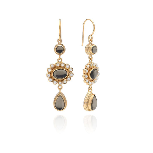Pyrite & Mother of Pearl Triple Drop Earrings