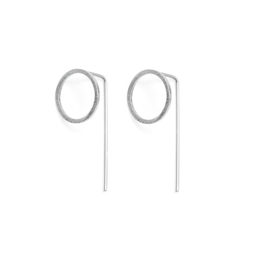 Circle Drop Earrings - Silver