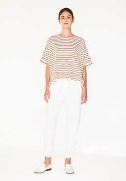 Oversize stripe t-shirt - rust