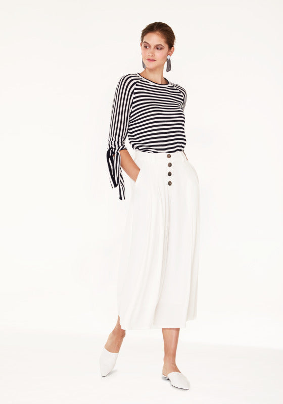 Striped jumper with tie sleeves - navy