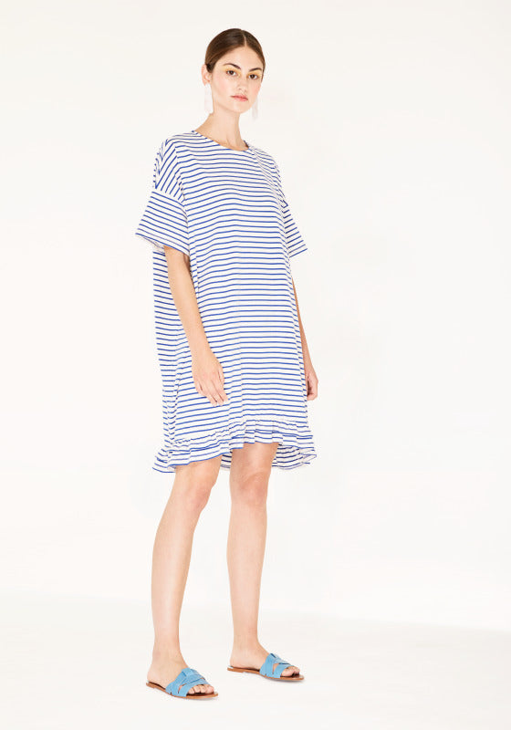 Striped dress with ruffle sleeve - blue