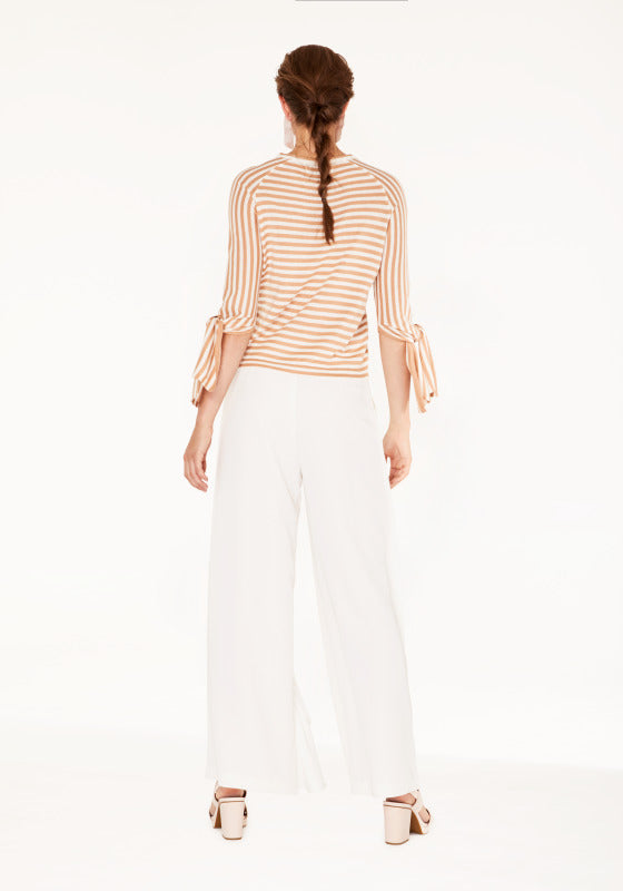 Striped jumper with tie sleeves - beige