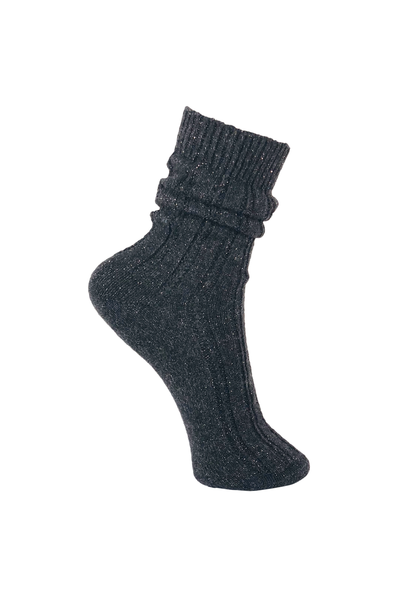 Himalaya Wool Lurex Socks - Dark Grey